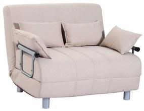 HOMCOM Canapea extensibilă 2 locuri din Oțel și Material cu 4 Perne, Crem