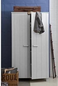 Dulap pentru haine cu 2 usi Dennis din lemn de pin - Gri beton