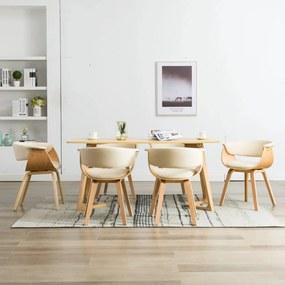 278732 vidaXL Scaune de bucătărie, 6 buc crem, lemn curbat & piele ecologică