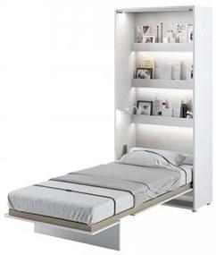 Pat rabatabil pe perete, cu mecanism pneumatic, sistem LED si somiera inclusa, Bed Concept Vertical Alb Mat, 200 x 90 cm