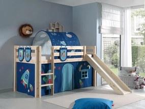 Pat etajat din lemn de pin, cu tunel si tobogan pentru copii Pino Plus Astro Natural, 200 x 90 cm