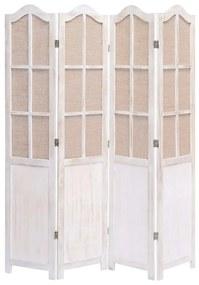 284220 vidaXL Paravan de cameră cu 4 panouri, alb, 140 x 165 cm, textil