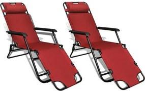 Set 2 șezlonguri reglabile pliabile