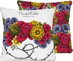 Față de pernă reversibilă Madre Selva Frida Bunch, 45 x 45 cm, alb