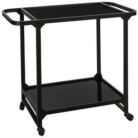 Masuta servire Elegance metal sticla, negru mat, 75x35x67.5 cm