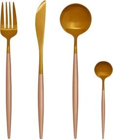 Set 16 tacâmuri din oțel inoxidabil Premier Housewares Avie, auriu