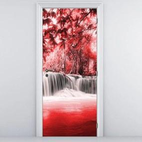 Fototapeta pentru ușă - cascada roșie (95x205cm)