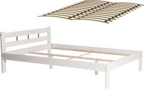 Pat Dormitor Sara din Lemn de Pin, cu Somiera dubla cu 12 Lamele, dimensiune 140x200cm, alb