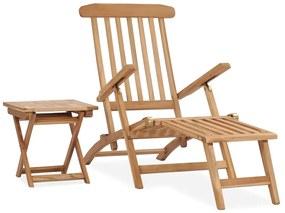 315376 vidaXL Șezlong de grădină cu suport picioare și masă, lemn masiv tec