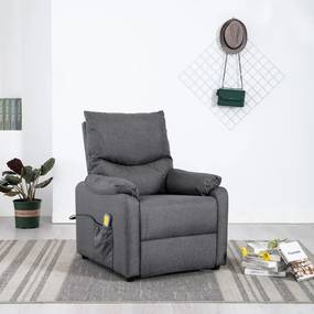 322457 vidaXL Fotoliu de masaj rabatabil, gri închis, material textil