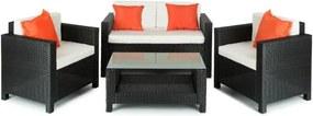 Blumfeldt VERONA, negru / bej / portocaliu, mobilier de grădină, 4 părți, poliuretan