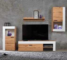 Perete sufragerie, stejar wotan / alb, PLATINUM