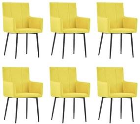 279707 vidaXL Scaune de bucătărie cu brațe, 6 buc., galben, material textil