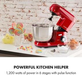 Klarstein Bella Robusta Metal, robot de bucătărie, 1200 W, 6 niveluri de putere, 5,5 l, roșu
