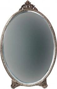 Oglinda ovala cu rama din metal antique brass Posh, 26x15,5x1cm