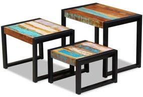 243279 vidaXL Mese suprapuse din lemn reciclat de esență tare, 3 piese
