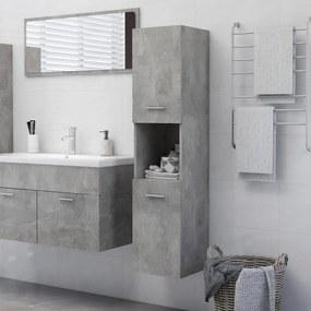 805001 vidaXL Dulap de baie, gri beton, 30 x 30 x 130 cm, PAL