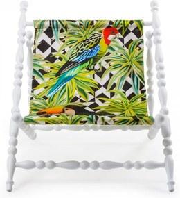 Sezlong pliabil cu cadru din lemn alb Heritage Parrots Seletti