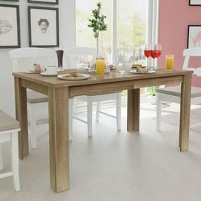 243055 vidaXL Masă de bucătărie, 140 x 80 x 75 cm, lemn de stejar