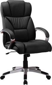 Scaun de birou ergonomic tapitat cu piele ecologica Q44 Black 50x63x121 cm