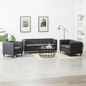 275635 vidaXL Set canapele Chesterfield 3 piese gri închis tapițerie țesătură