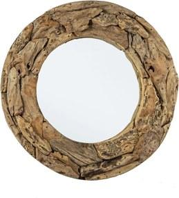 Oglinda decorativa rotunda de perete cu rama lemn natur Raven 100 cm x 8 cm