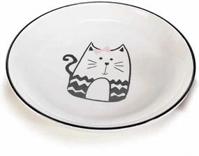Farfurie din ceramica alb negru model Pisica Ø 20 cm