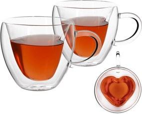 Cană termorezistentă Heart, 2 buc., în formă de inimă, 250 ml, HOTCOOL TYP 3