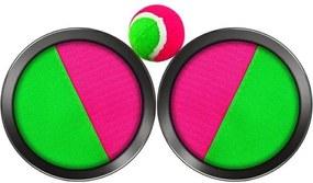 Set Joc Catch the Ball cu 2 Palete cu Velcro si o Minge, Culoare roz/verde