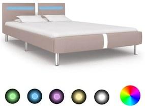 280863 vidaXL Cadru pat cu LED, cappuccino, 140x200 cm, piele artificială