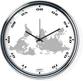 Ceas invers cu o hartă mondială 2 - alb, diametru 32 cm | DSGN