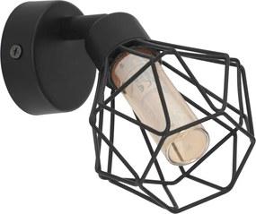 Aplica spot ZAPATA 1, EGLO, G9 LED, 3W, 360 lm, lumina calda, otel, sticla, negru, chihlimbar, IP20, A++