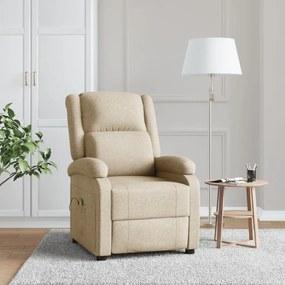 248697 vidaXL Fotoliu de masaj rabatabil, crem, material textil