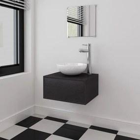 Set mobilier baie format din 3 piese cu chiuvetă inclusă, Negru