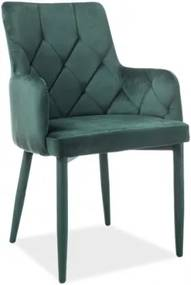 Scaun tapitat cu stofa si picioare metalice Rico Velvet Verde, l50xA44xH88 cm