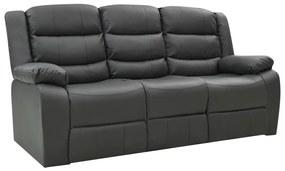 288507 vidaXL Canapea extensibilă, 3 locuri, gri, piele ecologică