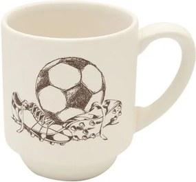 Cana Hobby Chic fotbal din ceramica alba 8 cm