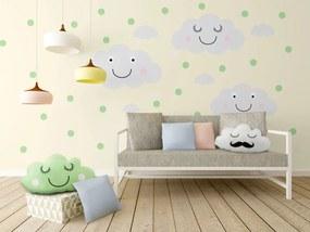 decorare pe perete - vesel nori + mentă buline