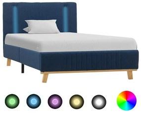 286662 vidaXL Cadru de pat cu LED, albastru, 100 x 200 cm, material textil