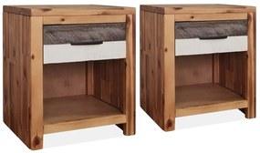 246042 vidaXL Noptieră, 2 buc., 40x30x48 cm, lemn masiv de acacia