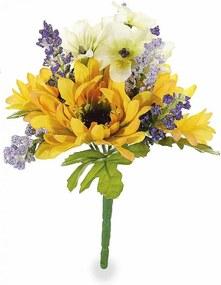 Buchet artificial flori de camp si floarea soarelui Yellow