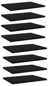 805157 vidaXL Plăci pentru bibliotecă, 8 buc., negru, 40 x 30 x 1,5 cm, PAL