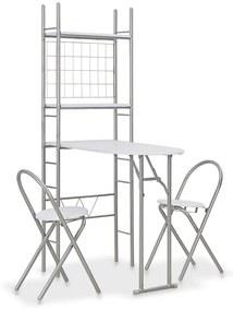 284403 vidaXL Set mobilier bucătărie cu depozitare, 3 piese, alb, MDF și oțel
