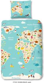 Lenjerie de pat din bumbac pentru copii Good Morning World Map, 140 x 200 cm