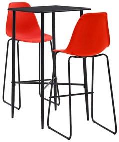 279931 vidaXL Set mobilier de bar, 3 piese, roșu, plastic