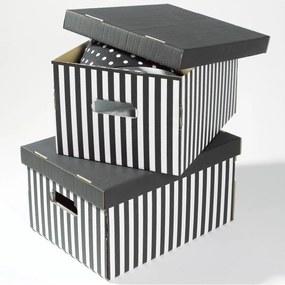 Set 2 cutii pentru depozitare Compactor Stripes, negru