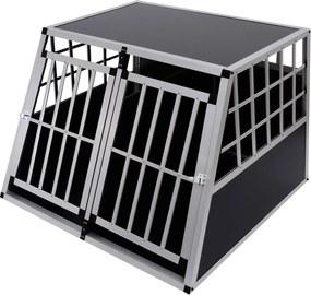 PawHut Transportor pentru Câini din Aluminiu cu Perete Mobil și Închidere, 104x91x69cm