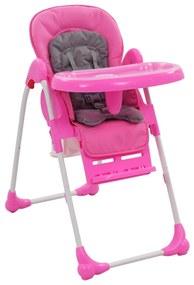 10186 vidaXL Scaun de masă înalt pentru copii, roz și gri
