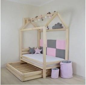 Pat din lemn de molid pentru copii Benlemi Happy, 90 x 160 cm, alb