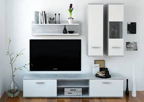 Mobilier pentru living, ciment/alb, WAW NEW